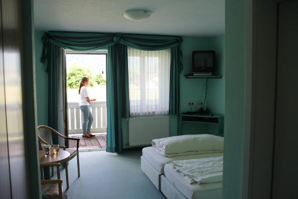 Zimmer mit Balkon und Blick auf die Donau